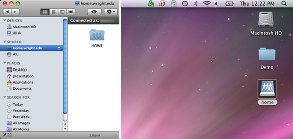 combined screen captures showing the network drive folder on the desktop and folder window of a mac