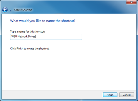 screen capture of the name shortcut window